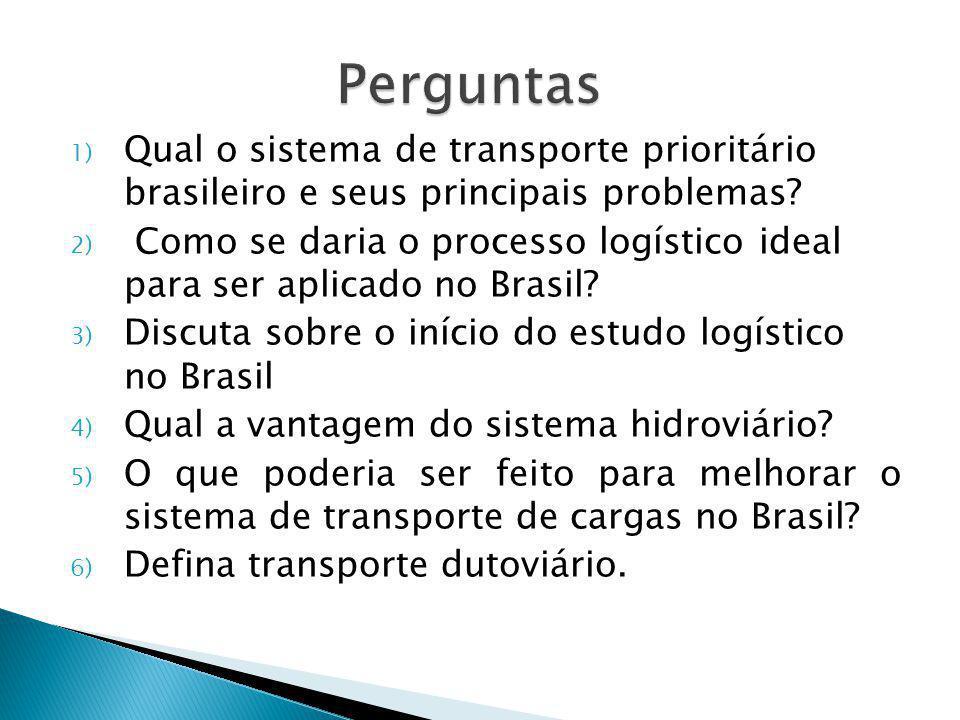Perguntas Qual o sistema de transporte prioritário brasileiro e seus principais problemas