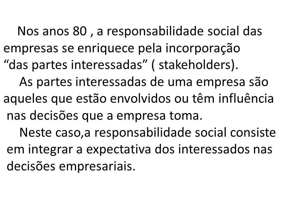 Nos anos 80 , a responsabilidade social das