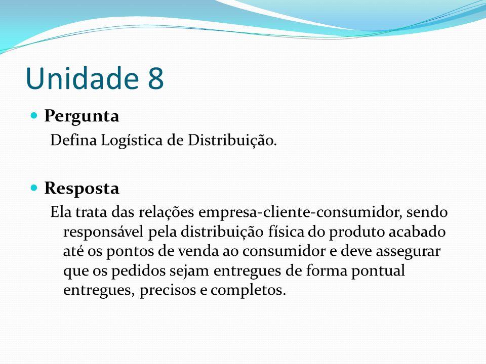 Unidade 8 Pergunta Resposta Defina Logística de Distribuição.