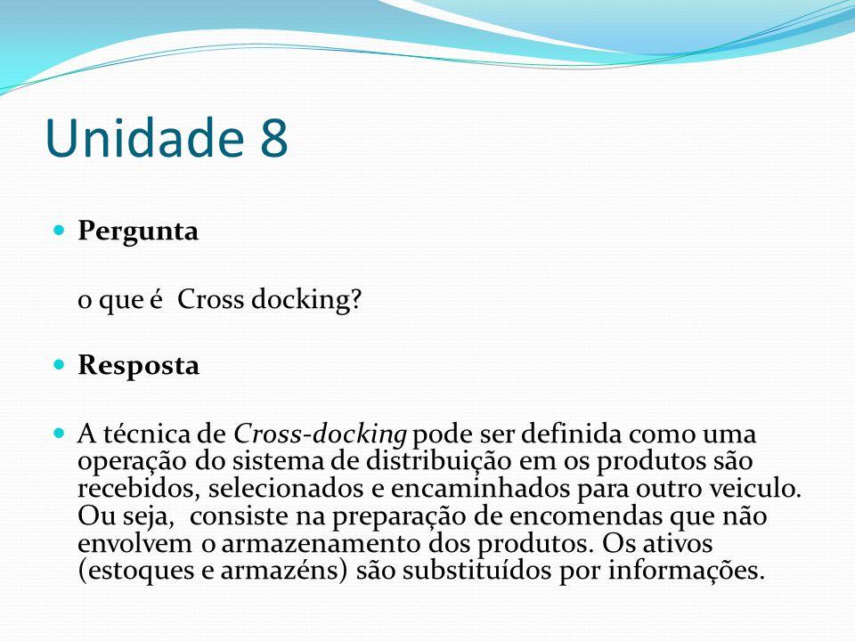 Unidade 8 Pergunta o que é Cross docking Resposta