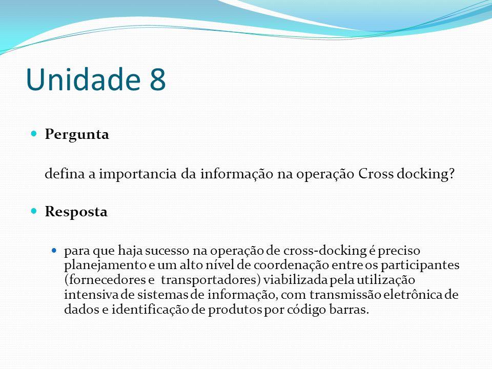 Unidade 8 Pergunta. defina a importancia da informação na operação Cross docking Resposta.