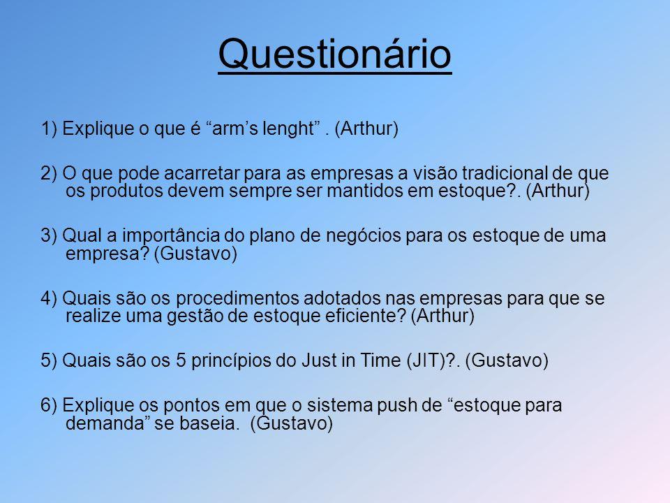 Questionário 1) Explique o que é arm's lenght . (Arthur)