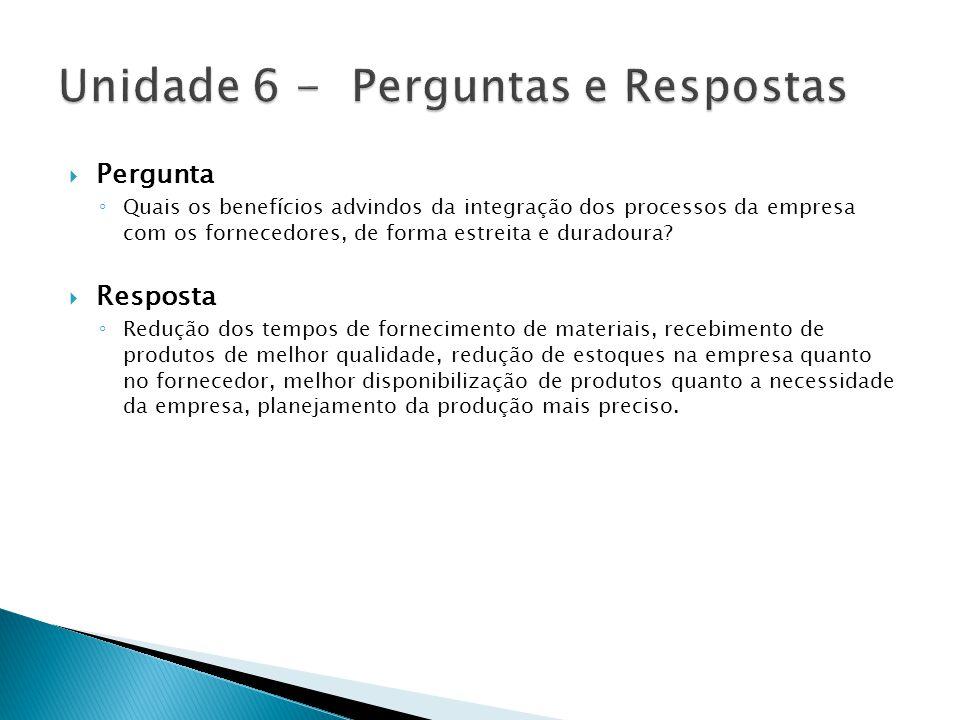 Unidade 6 - Perguntas e Respostas