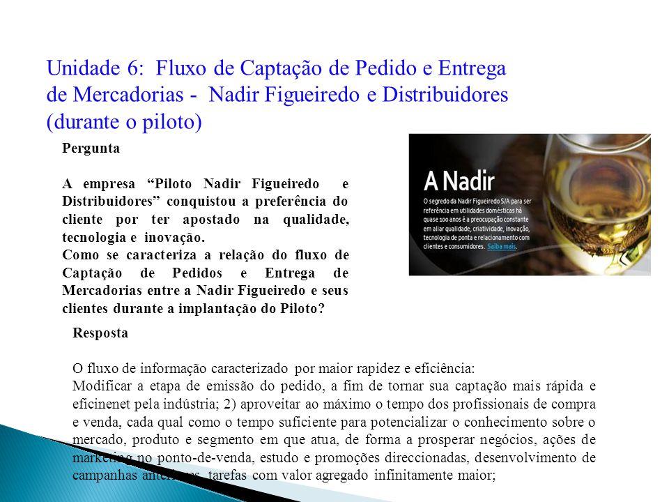 Unidade 6: Fluxo de Captação de Pedido e Entrega de Mercadorias - Nadir Figueiredo e Distribuidores (durante o piloto)