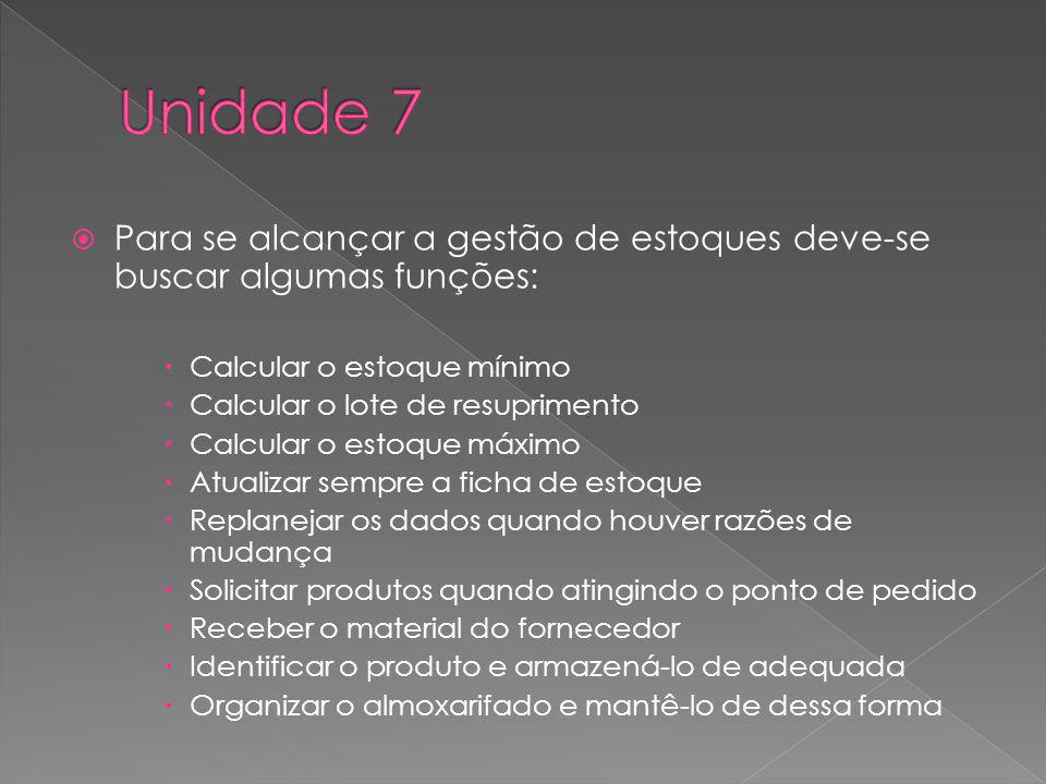 Unidade 7 Para se alcançar a gestão de estoques deve-se buscar algumas funções: Calcular o estoque mínimo.