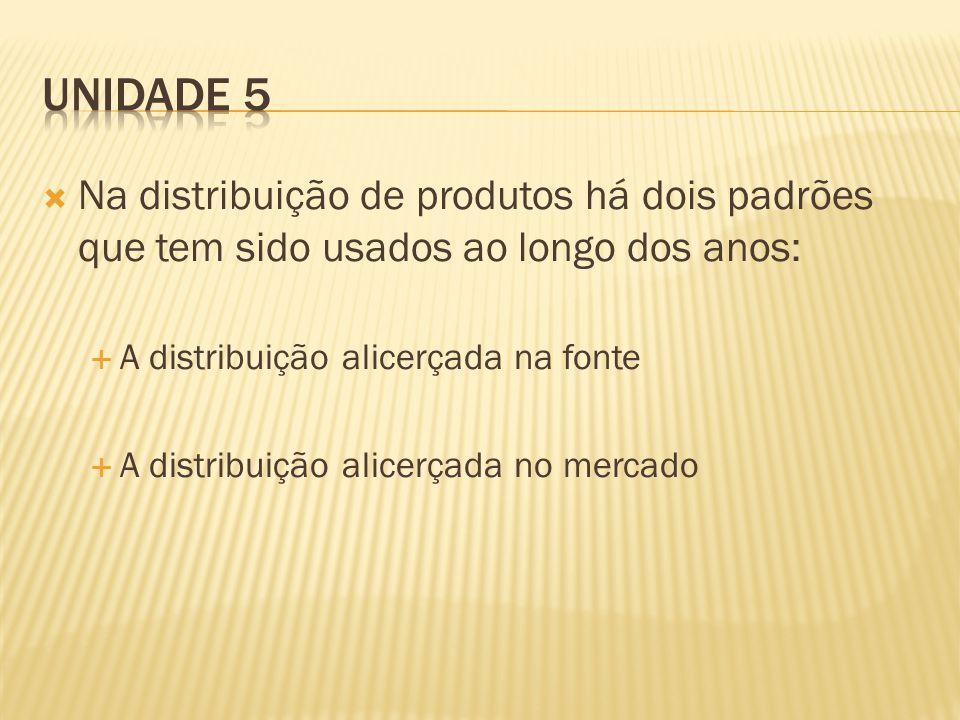 Unidade 5 Na distribuição de produtos há dois padrões que tem sido usados ao longo dos anos: A distribuição alicerçada na fonte.