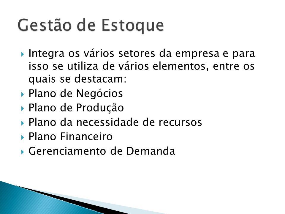 Gestão de Estoque Integra os vários setores da empresa e para isso se utiliza de vários elementos, entre os quais se destacam: