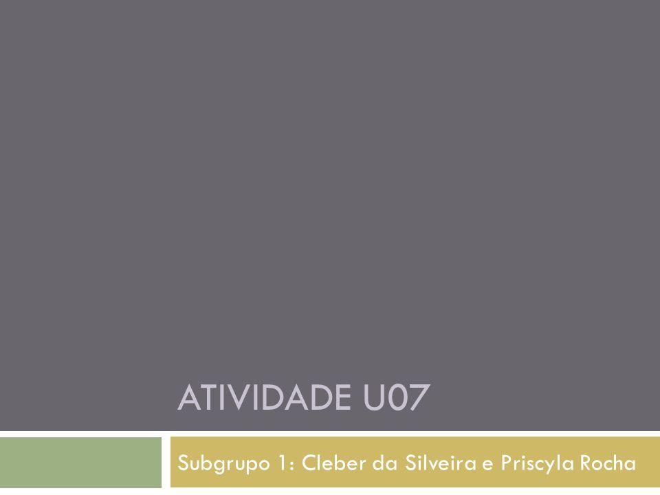 Subgrupo 1: Cleber da Silveira e Priscyla Rocha