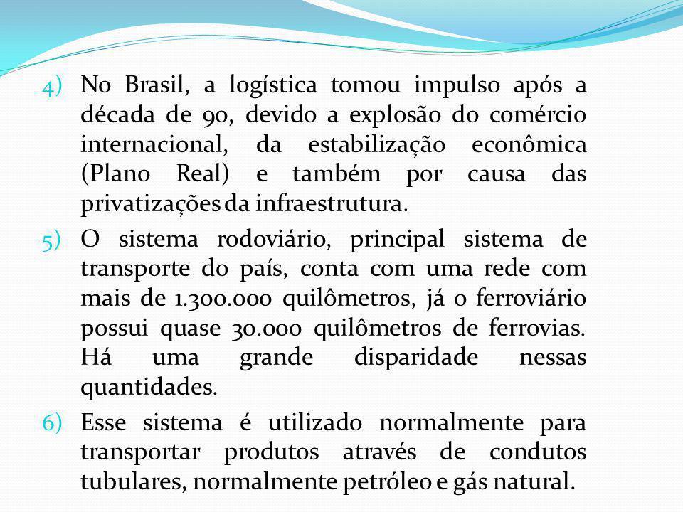 No Brasil, a logística tomou impulso após a década de 90, devido a explosão do comércio internacional, da estabilização econômica (Plano Real) e também por causa das privatizações da infraestrutura.