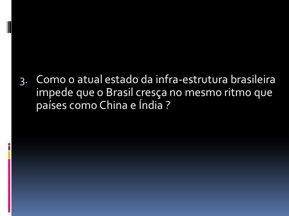 Como o atual estado da infra-estrutura brasileira impede que o Brasil cresça no mesmo ritmo que países como China e Índia