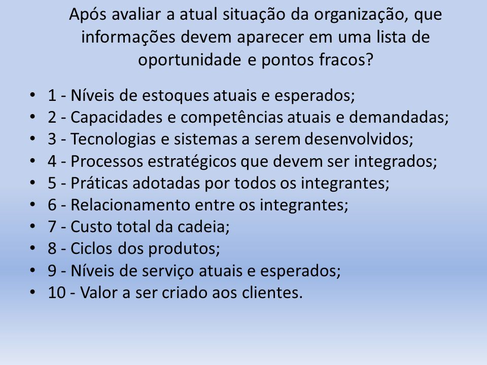 Após avaliar a atual situação da organização, que informações devem aparecer em uma lista de oportunidade e pontos fracos