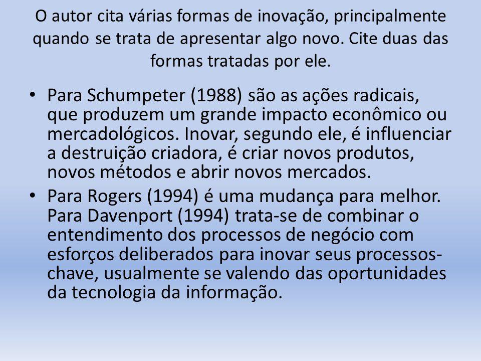 O autor cita várias formas de inovação, principalmente quando se trata de apresentar algo novo. Cite duas das formas tratadas por ele.