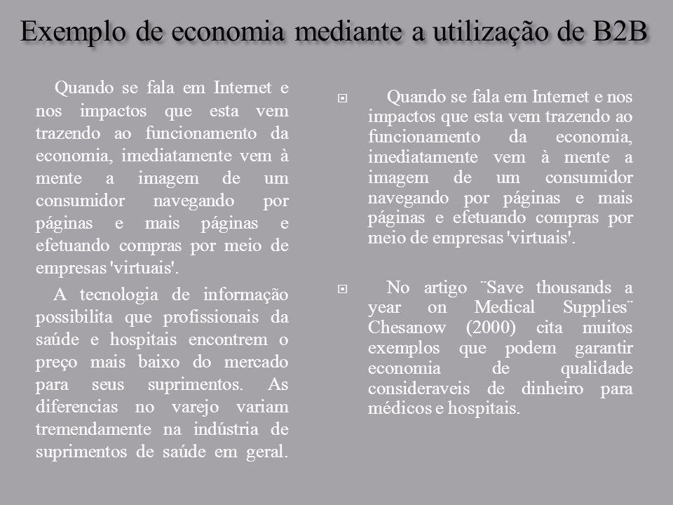 Exemplo de economia mediante a utilização de B2B