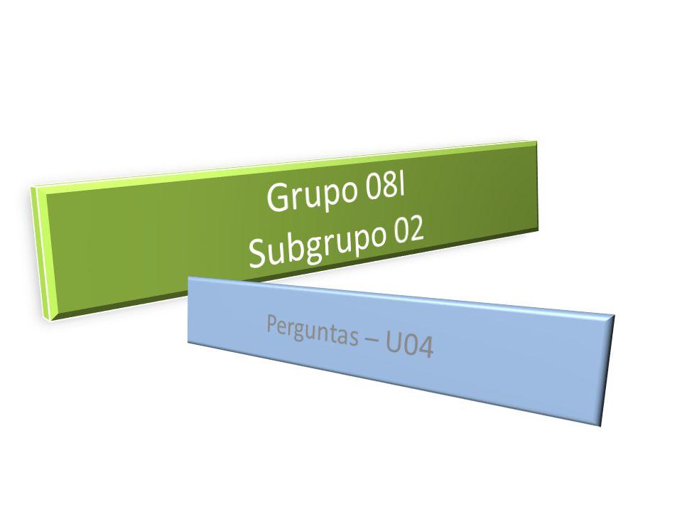 Grupo 08I Subgrupo 02 Perguntas – U04