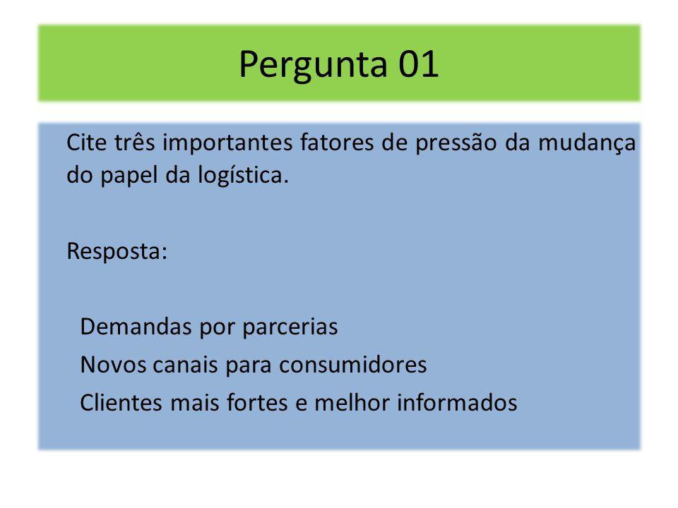 Pergunta 01 Cite três importantes fatores de pressão da mudança do papel da logística. Resposta: Demandas por parcerias.