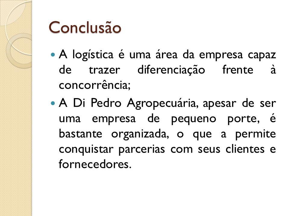 Conclusão A logística é uma área da empresa capaz de trazer diferenciação frente à concorrência;