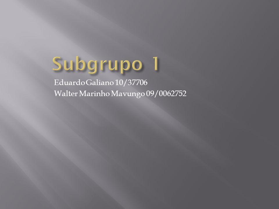 Subgrupo 1 Eduardo Galiano 10/37706 Walter Marinho Mavungo 09/0062752