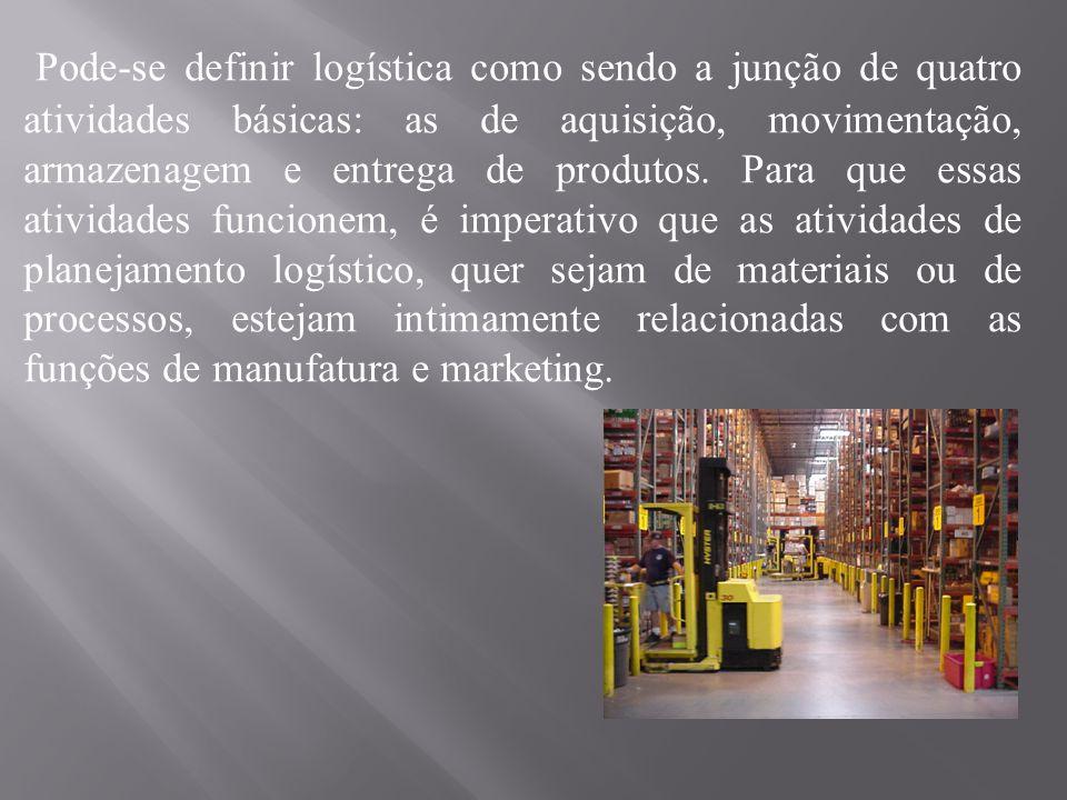 Pode-se definir logística como sendo a junção de quatro atividades básicas: as de aquisição, movimentação, armazenagem e entrega de produtos.