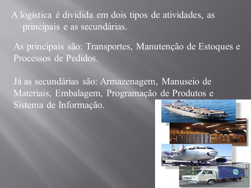 A logística é dividida em dois tipos de atividades, as principais e as secundárias.