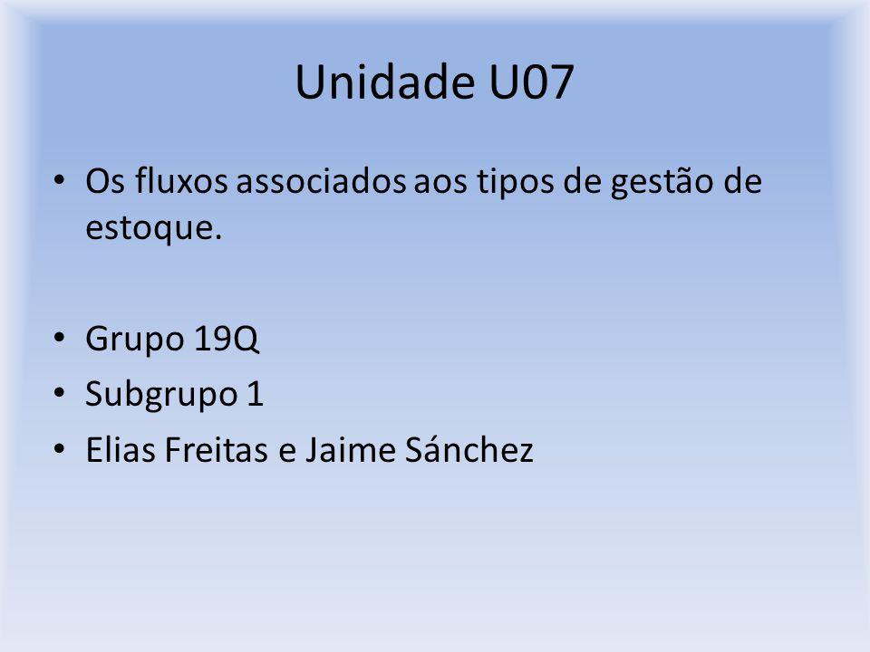Unidade U07 Os fluxos associados aos tipos de gestão de estoque.