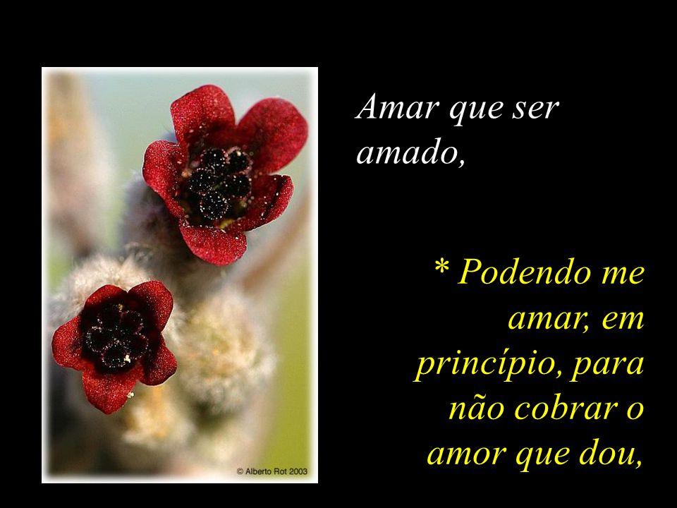 Amar que ser amado, * Podendo me amar, em princípio, para não cobrar o amor que dou,