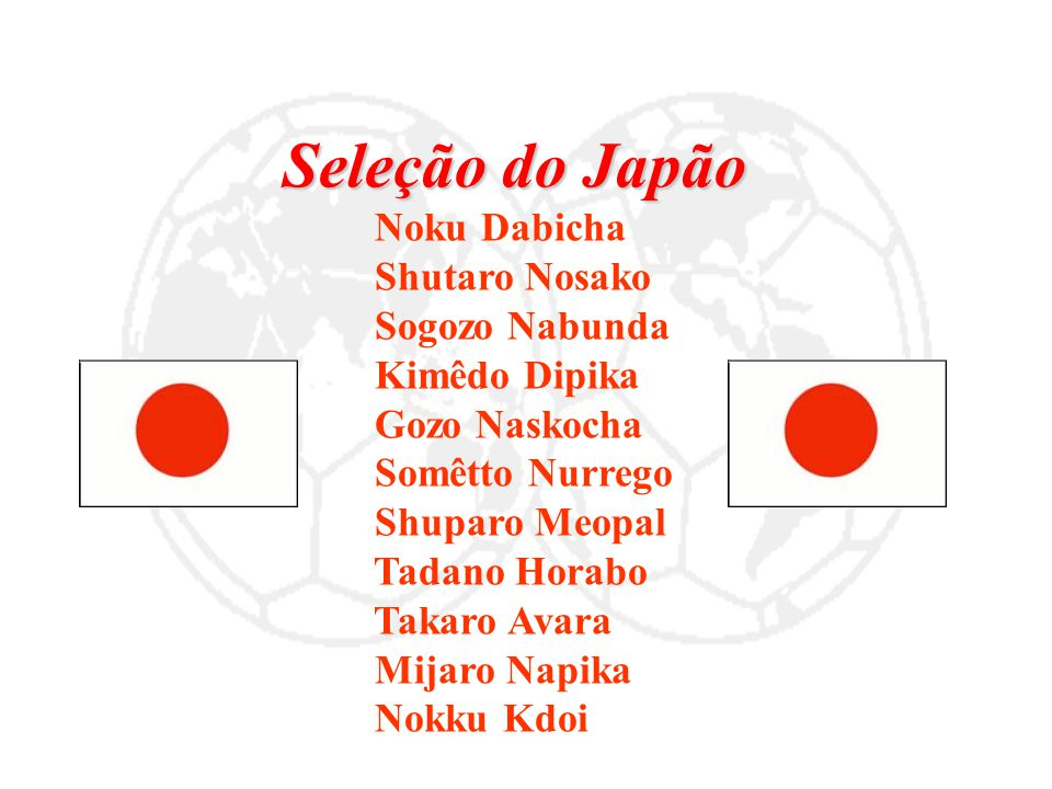 Seleção do Japão Noku Dabicha Shutaro Nosako Sogozo Nabunda