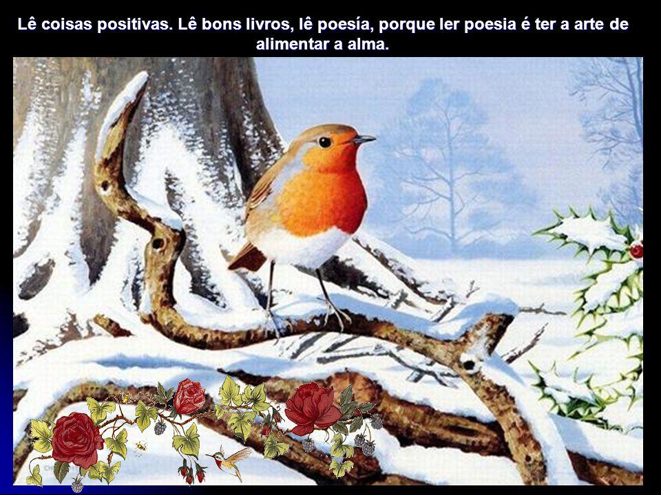 Lê coisas positivas. Lê bons livros, lê poesía, porque ler poesia é ter a arte de alimentar a alma.
