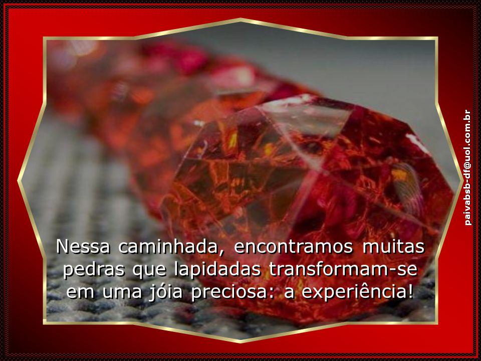 paivabsb-df@uol.com.br Nessa caminhada, encontramos muitas pedras que lapidadas transformam-se em uma jóia preciosa: a experiência!