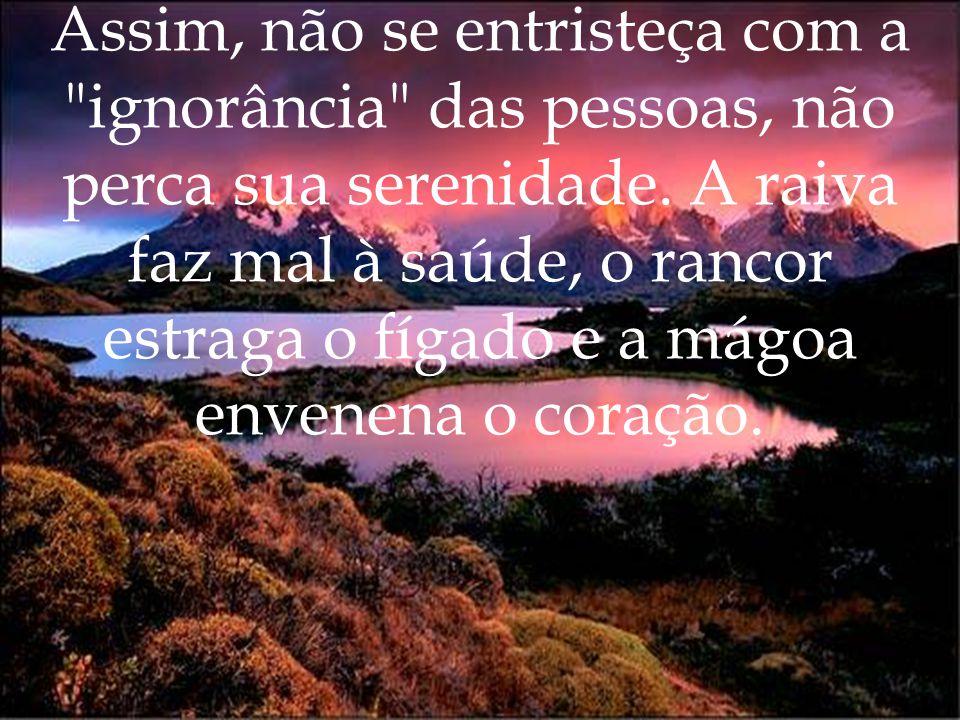 Assim, não se entristeça com a ignorância das pessoas, não perca sua serenidade.
