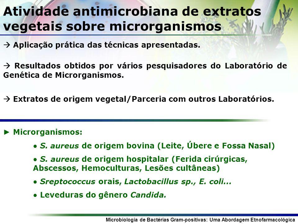 Atividade antimicrobiana de extratos vegetais sobre microrganismos