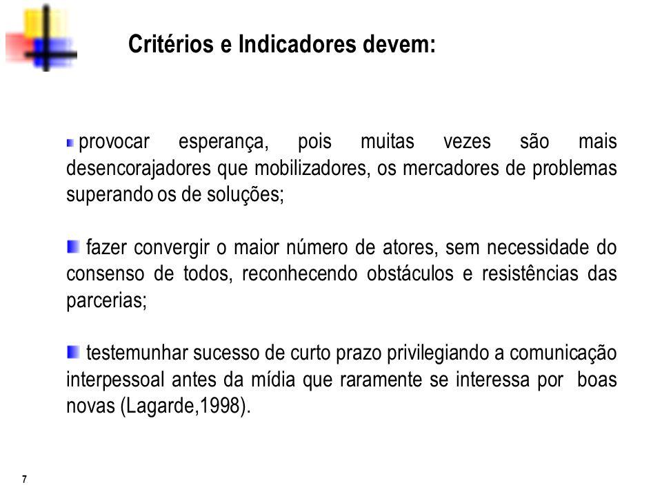 Critérios e Indicadores devem: