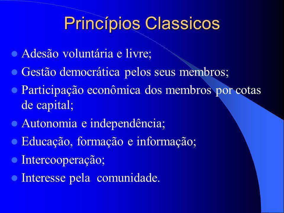 Princípios Classicos Adesão voluntária e livre;