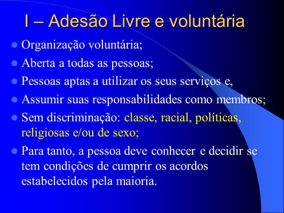 I – Adesão Livre e voluntária