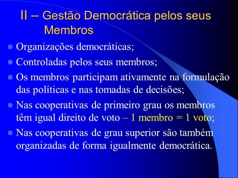 II – Gestão Democrática pelos seus Membros