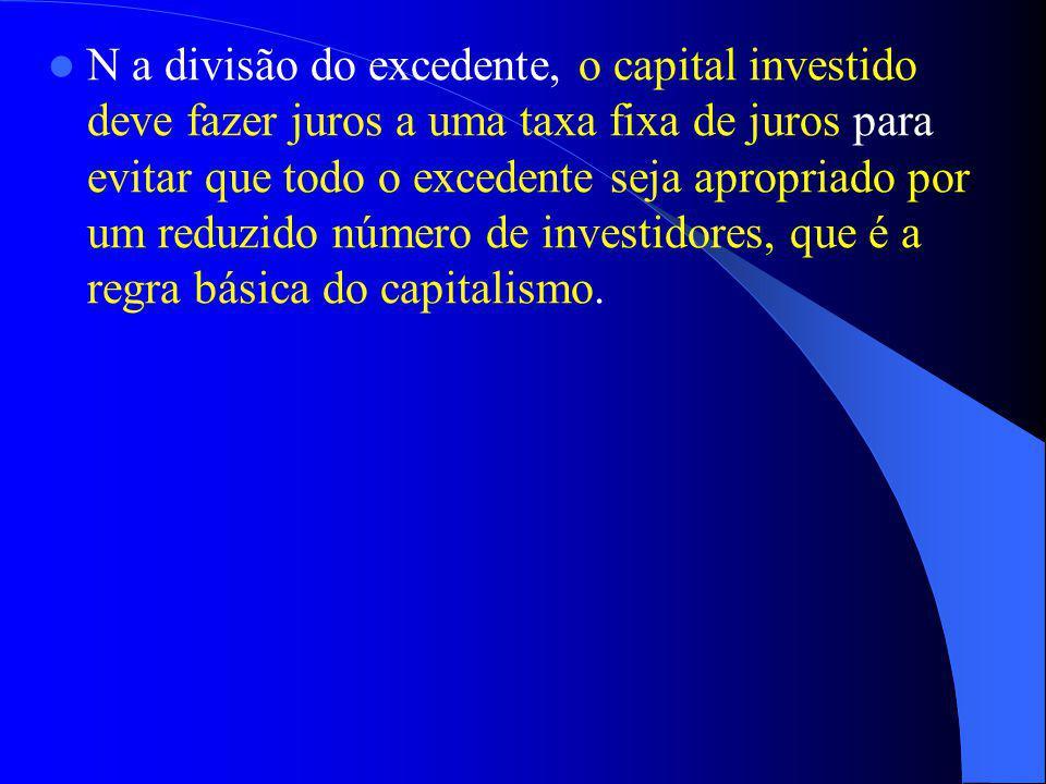 N a divisão do excedente, o capital investido deve fazer juros a uma taxa fixa de juros para evitar que todo o excedente seja apropriado por um reduzido número de investidores, que é a regra básica do capitalismo.