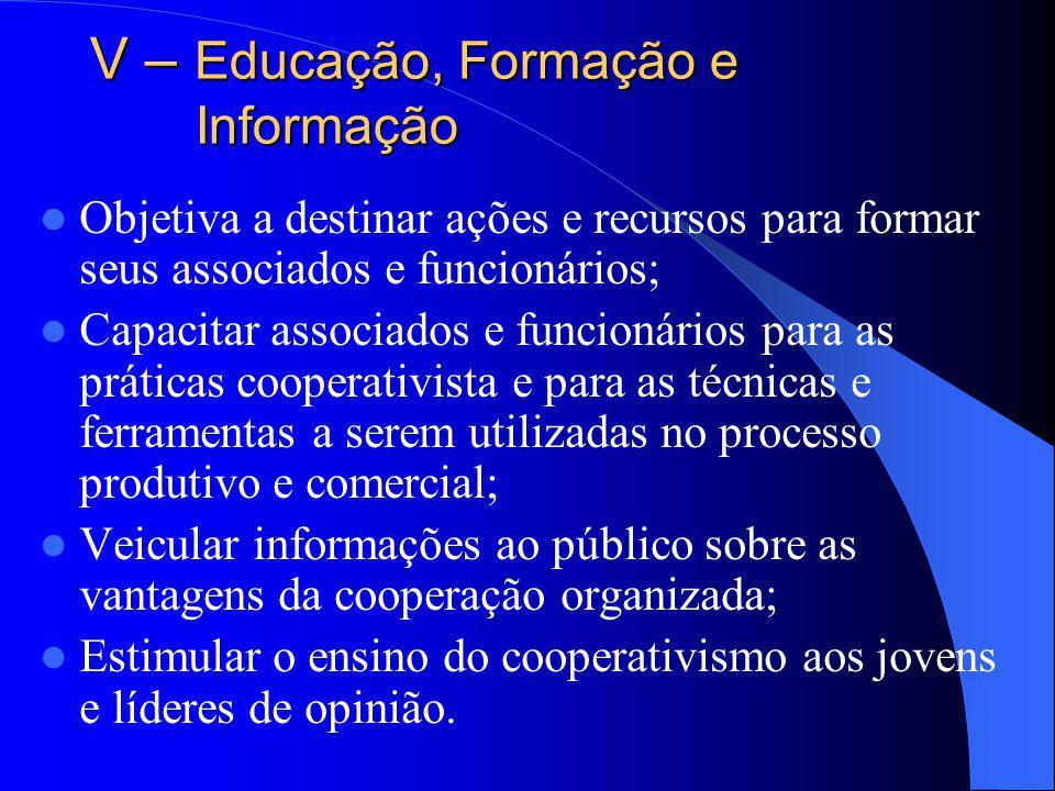 V – Educação, Formação e Informação