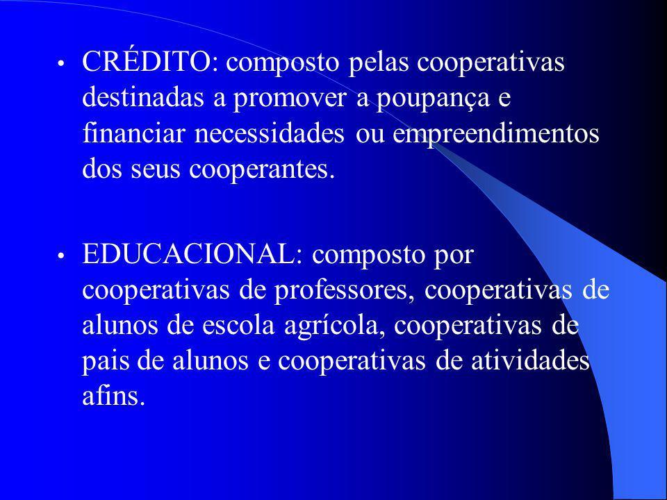 CRÉDITO: composto pelas cooperativas destinadas a promover a poupança e financiar necessidades ou empreendimentos dos seus cooperantes.