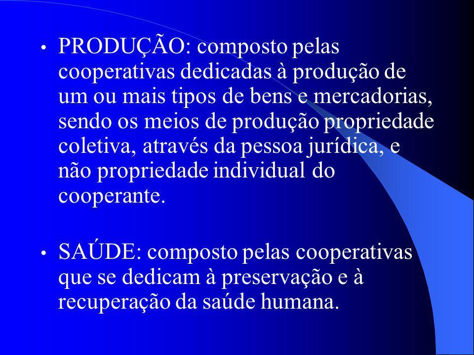 PRODUÇÃO: composto pelas cooperativas dedicadas à produção de um ou mais tipos de bens e mercadorias, sendo os meios de produção propriedade coletiva, através da pessoa jurídica, e não propriedade individual do cooperante.