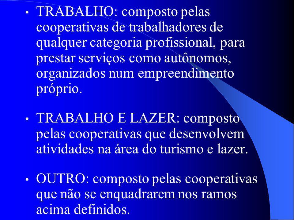 TRABALHO: composto pelas cooperativas de trabalhadores de qualquer categoria profissional, para prestar serviços como autônomos, organizados num empreendimento próprio.