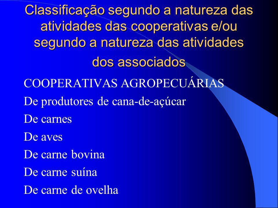 Classificação segundo a natureza das atividades das cooperativas e/ou segundo a natureza das atividades dos associados