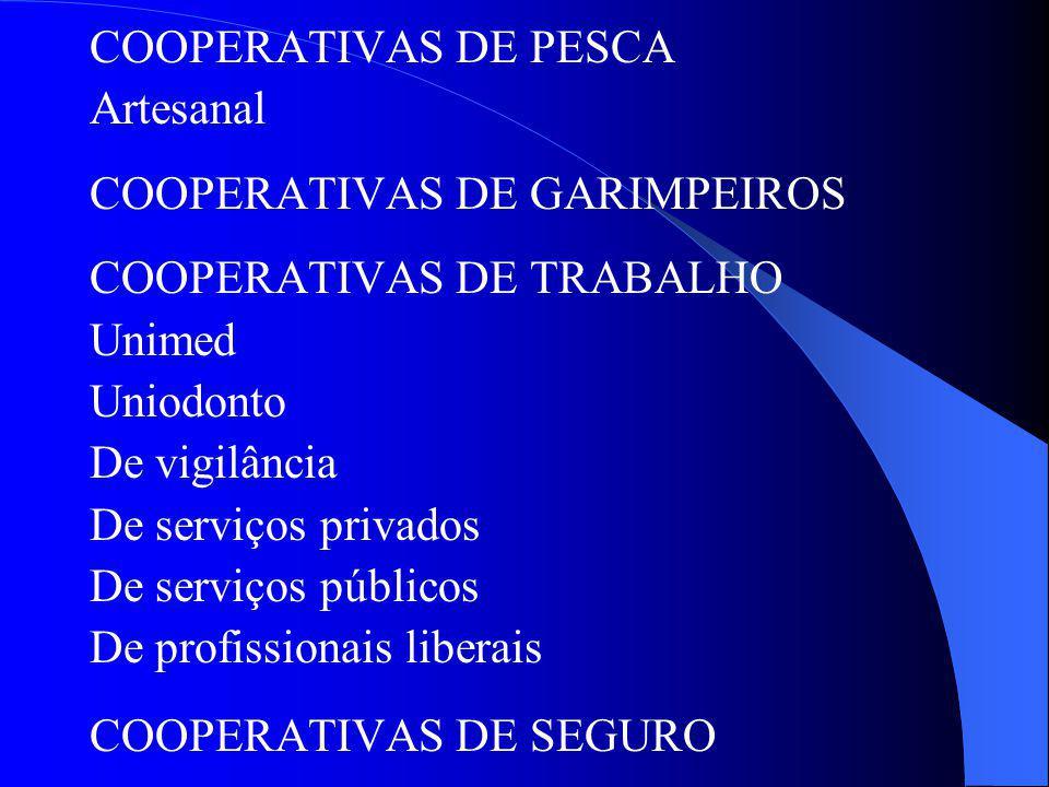 COOPERATIVAS DE PESCA Artesanal. COOPERATIVAS DE GARIMPEIROS. COOPERATIVAS DE TRABALHO. Unimed. Uniodonto.