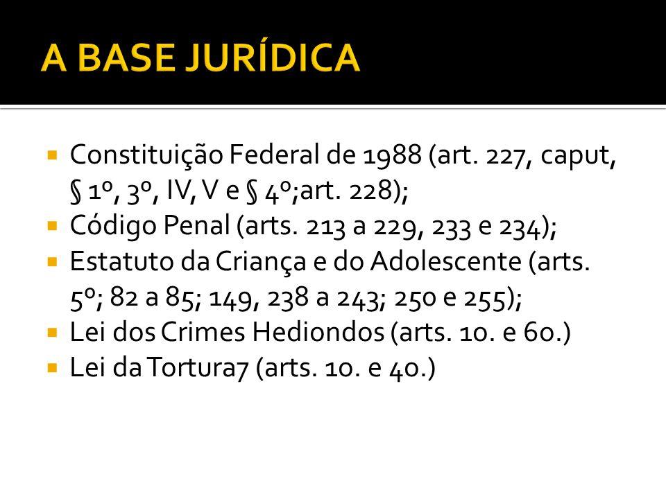 A BASE JURÍDICA Constituição Federal de 1988 (art. 227, caput, § 1º, 3º, IV, V e § 4º;art. 228); Código Penal (arts. 213 a 229, 233 e 234);