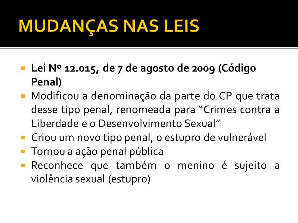 MUDANÇAS NAS LEIS Lei Nº 12.015, de 7 de agosto de 2009 (Código Penal)