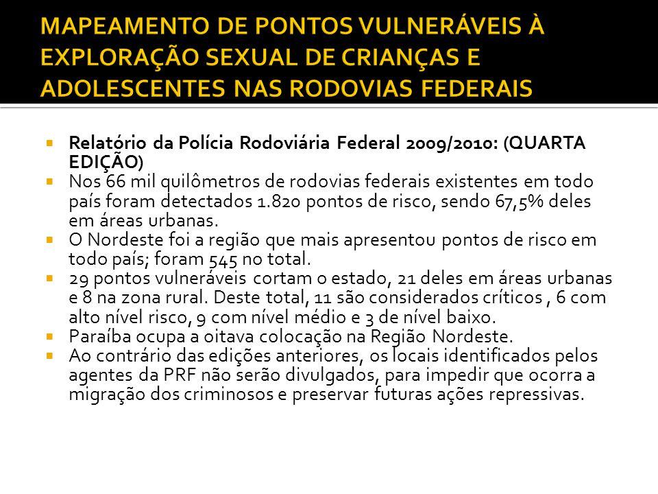 MAPEAMENTO DE PONTOS VULNERÁVEIS À EXPLORAÇÃO SEXUAL DE CRIANÇAS E ADOLESCENTES NAS RODOVIAS FEDERAIS