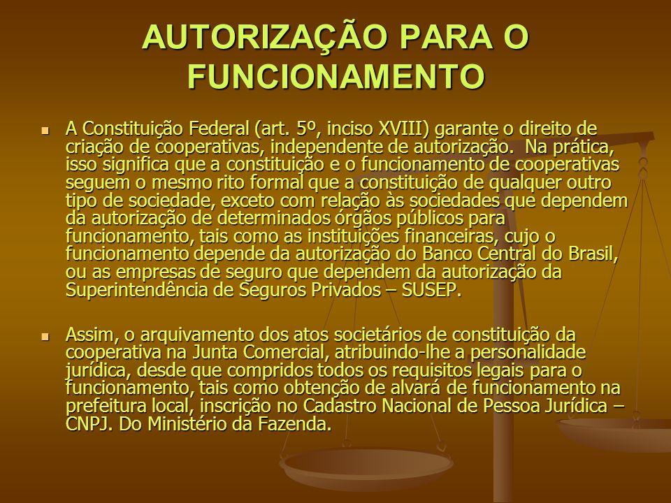 AUTORIZAÇÃO PARA O FUNCIONAMENTO