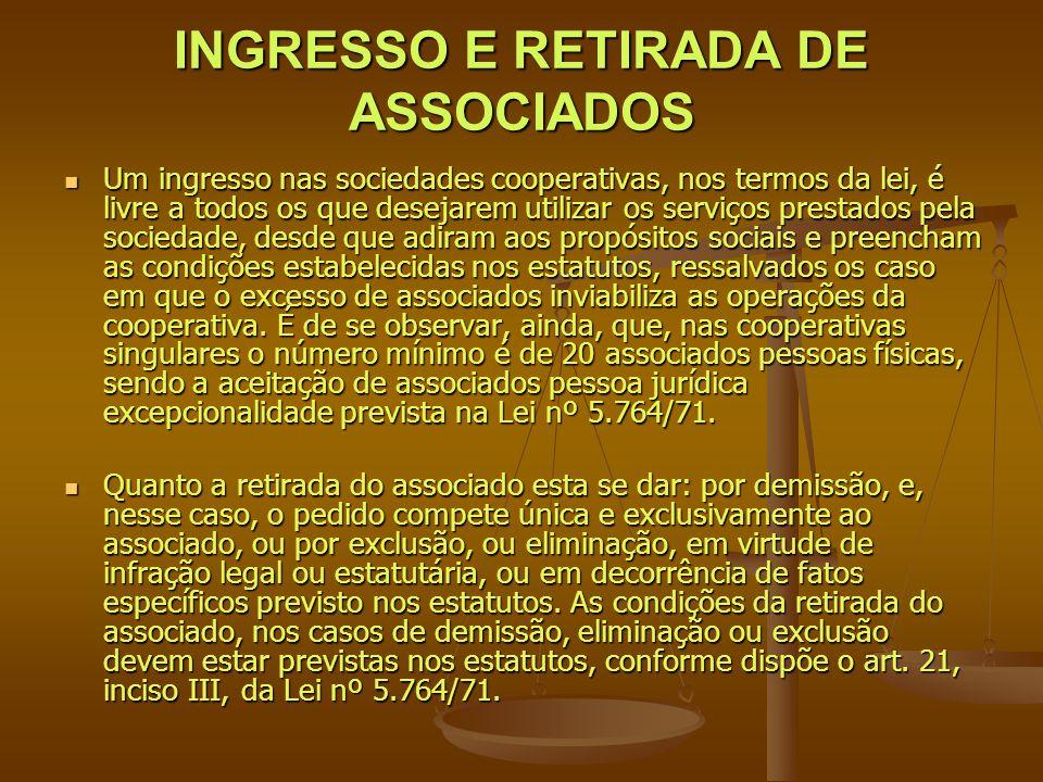 INGRESSO E RETIRADA DE ASSOCIADOS