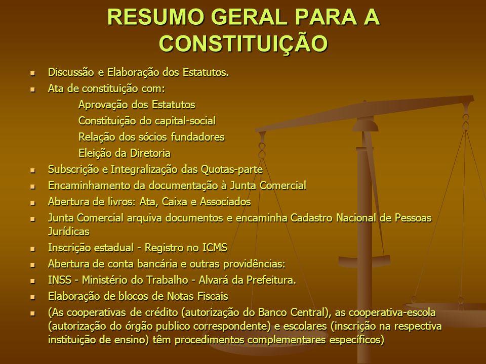 RESUMO GERAL PARA A CONSTITUIÇÃO