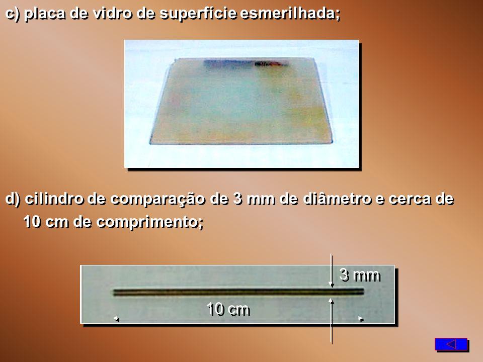 c) placa de vidro de superfície esmerilhada;