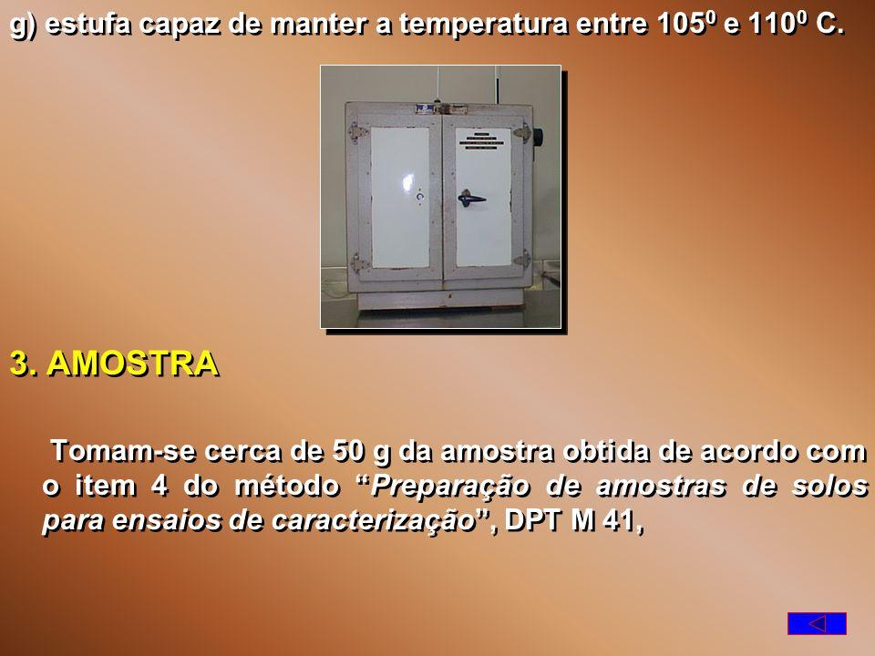 g) estufa capaz de manter a temperatura entre 1050 e 1100 C.