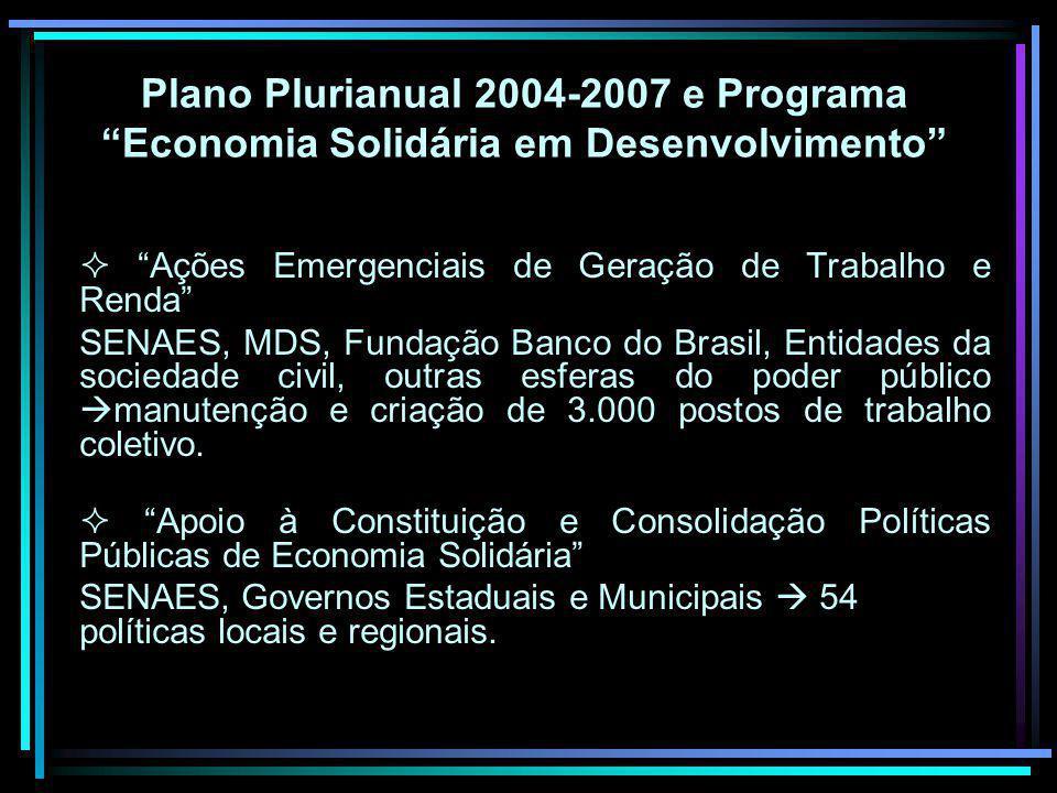 Plano Plurianual 2004-2007 e Programa Economia Solidária em Desenvolvimento
